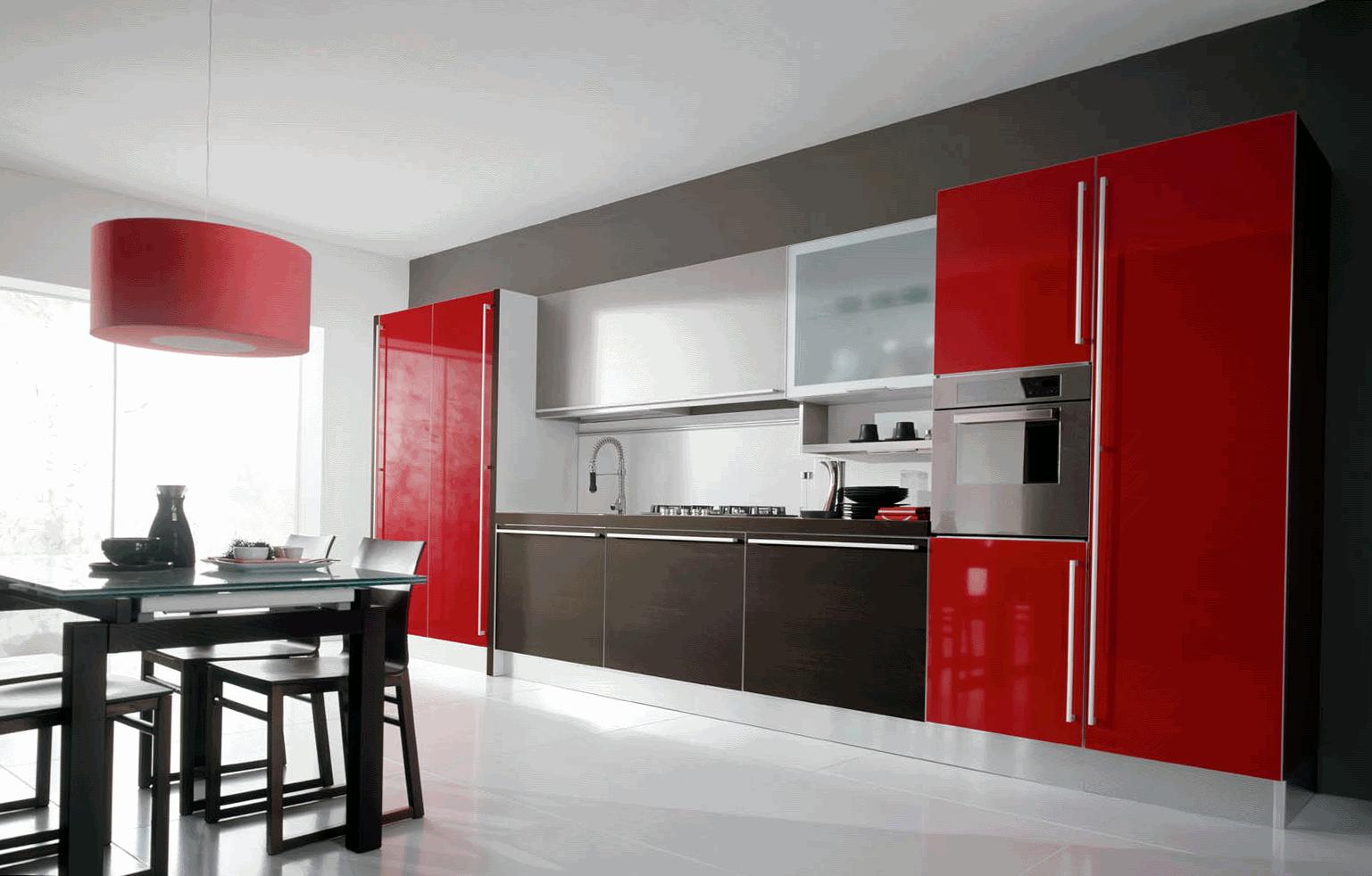 Красный, белый и коричнвеый цвета в интерьере современной кухни