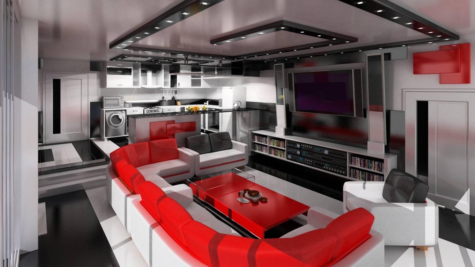 Красный, серый и белый цвета в гостиной