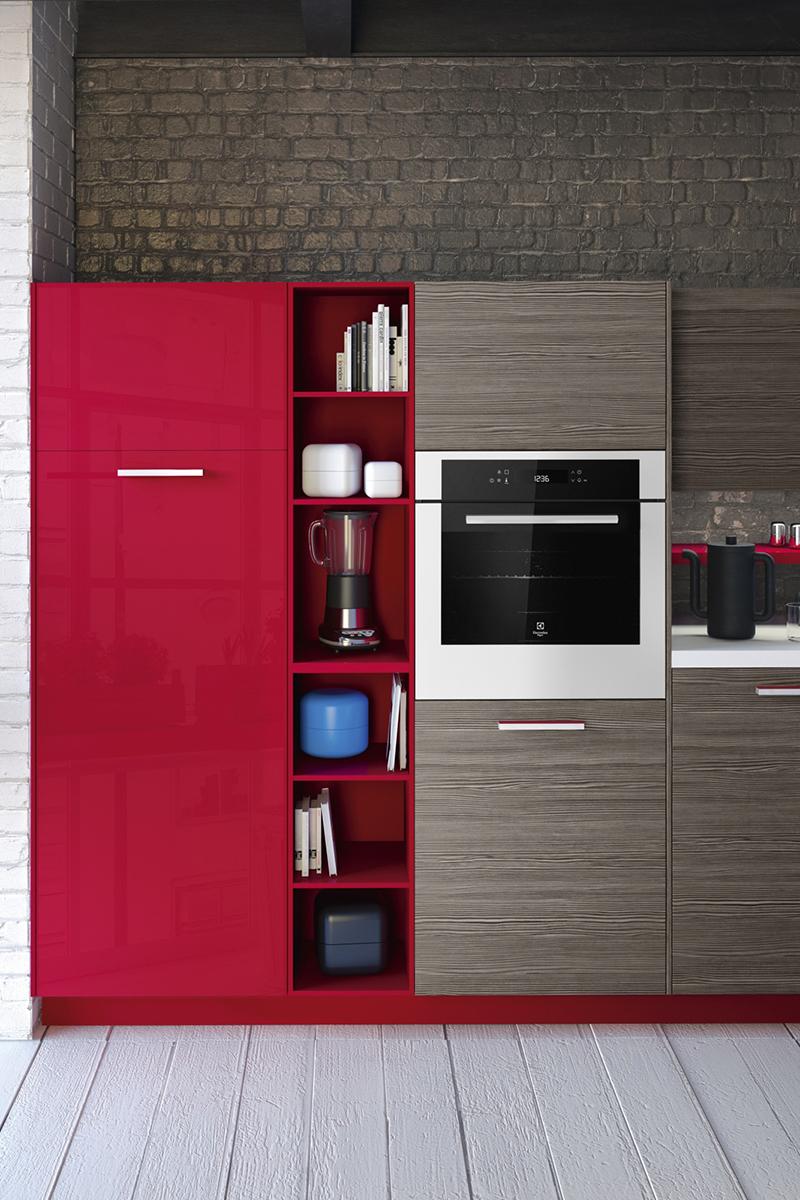 Красно-серый кухонный гарнитур