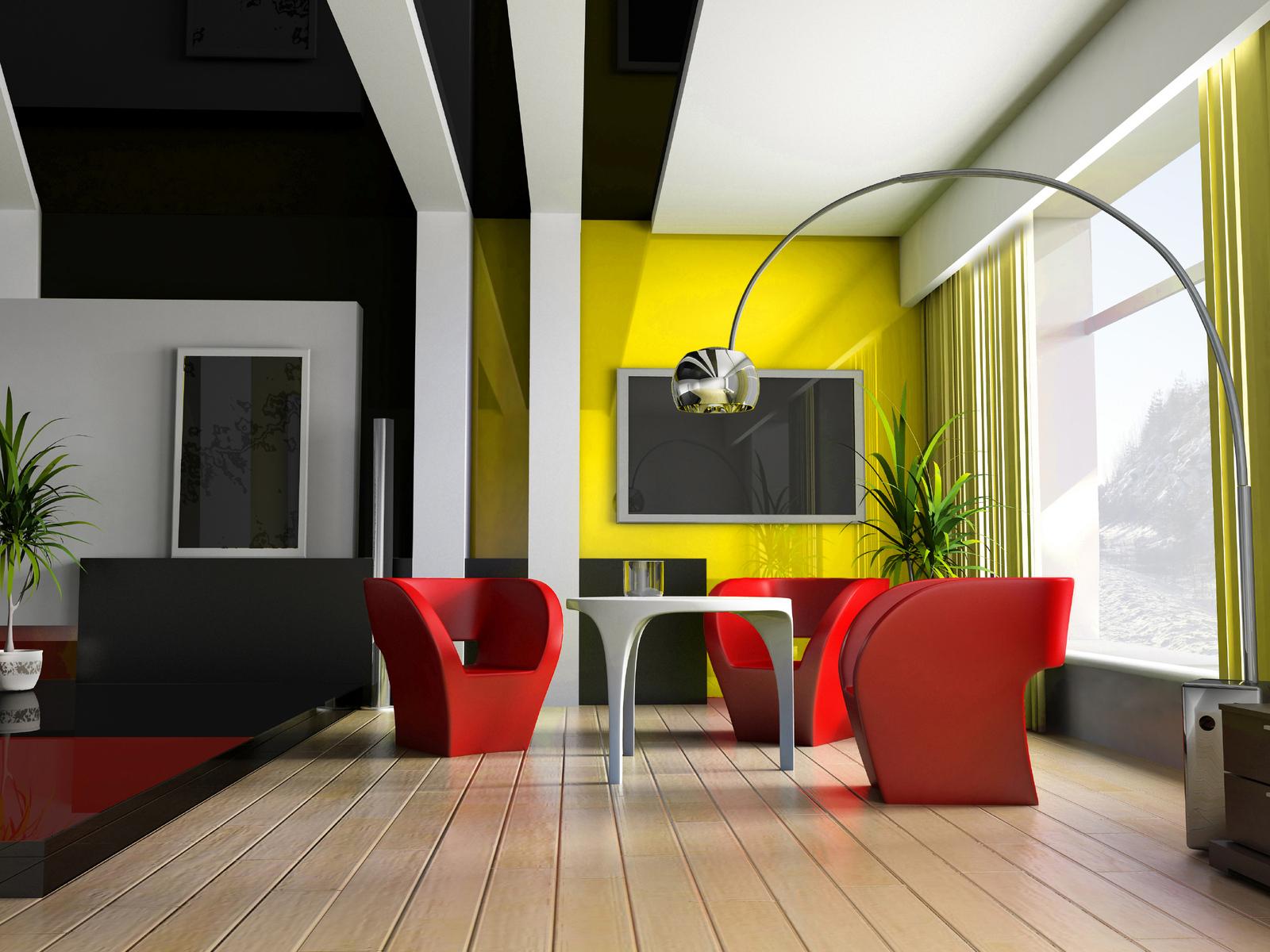 Красно-желтый акцент в гостиной