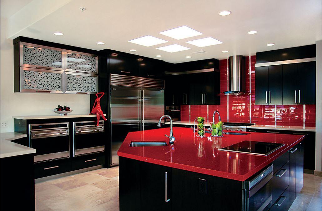 Черно-красный кухонный гарнитур