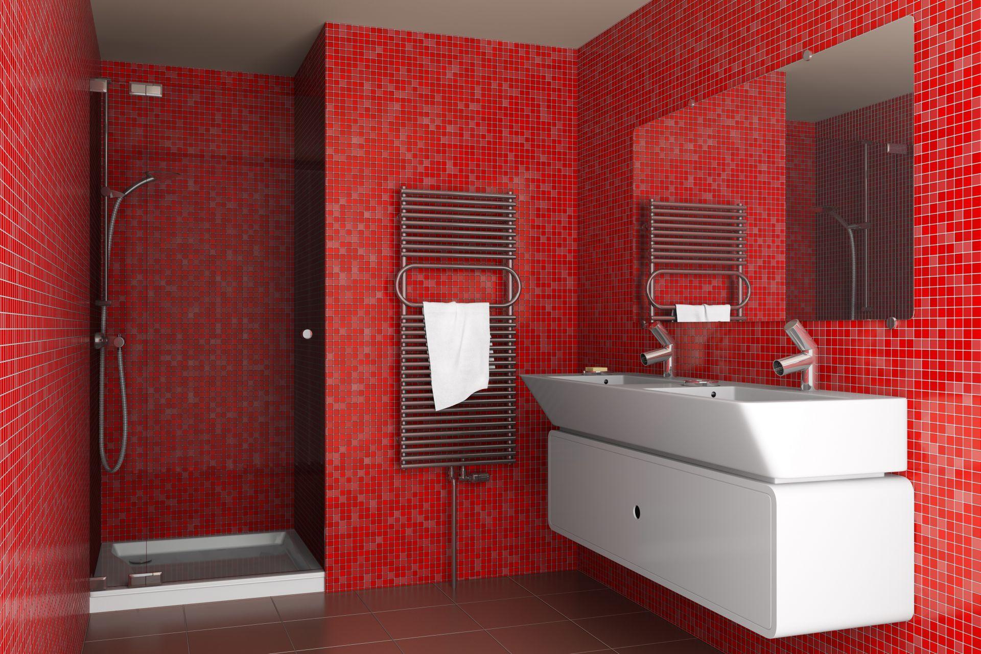 Красно-белый интерьер ванной