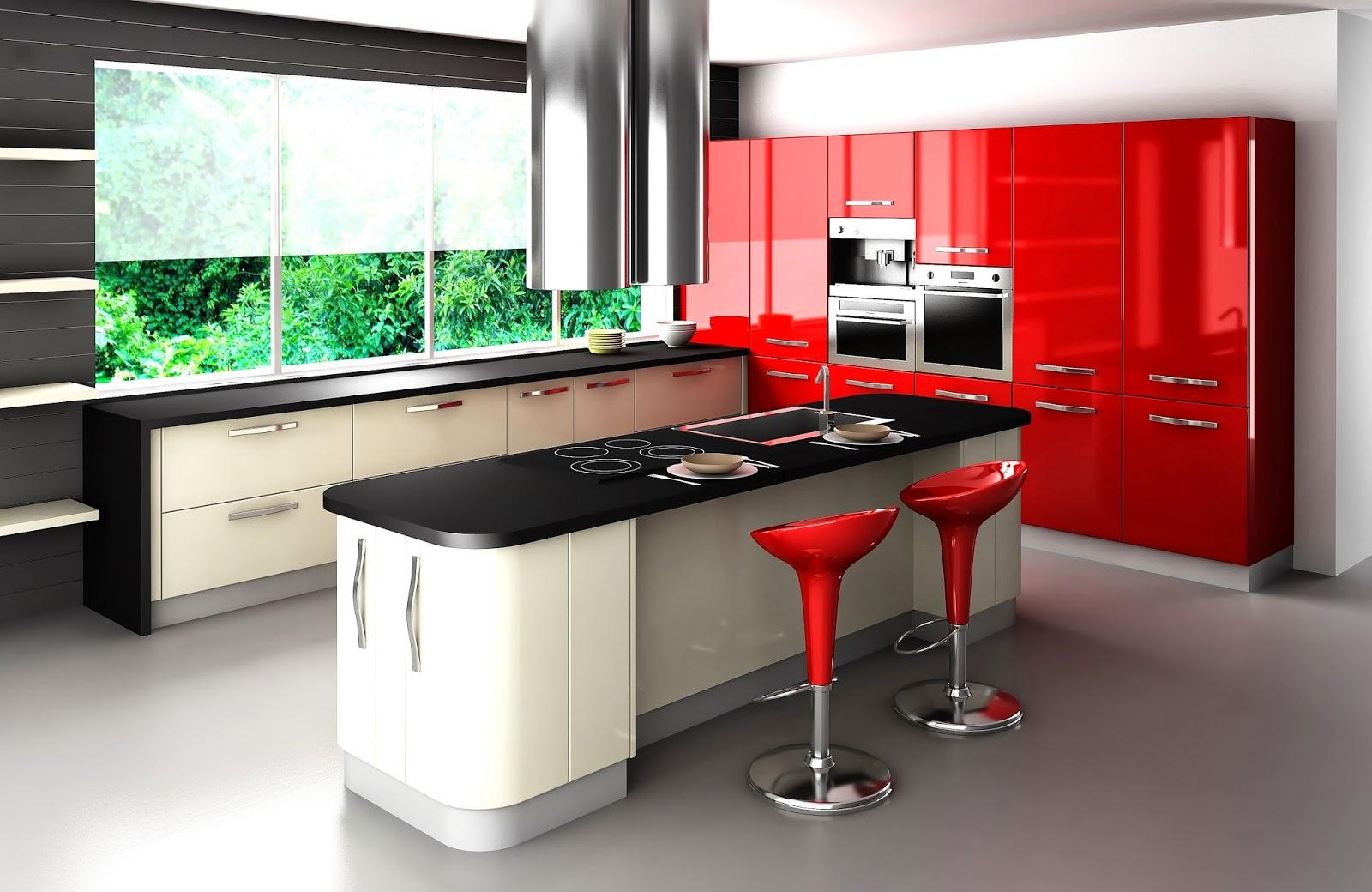 Красный гарнитур и стулья на кухне