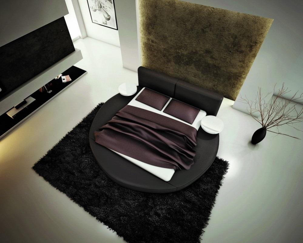 Черная кожаная круглая кровать с белым матрасом