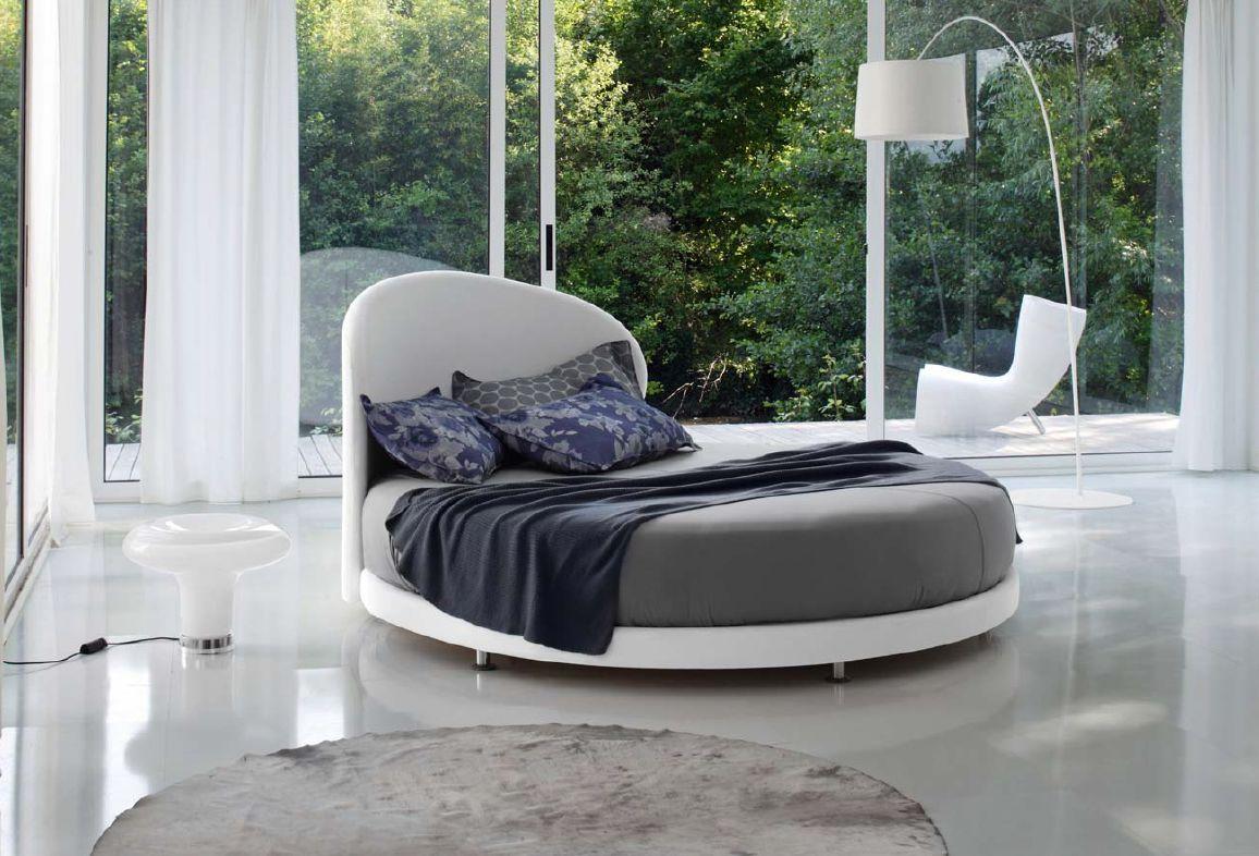 Белая современная круглая кровать