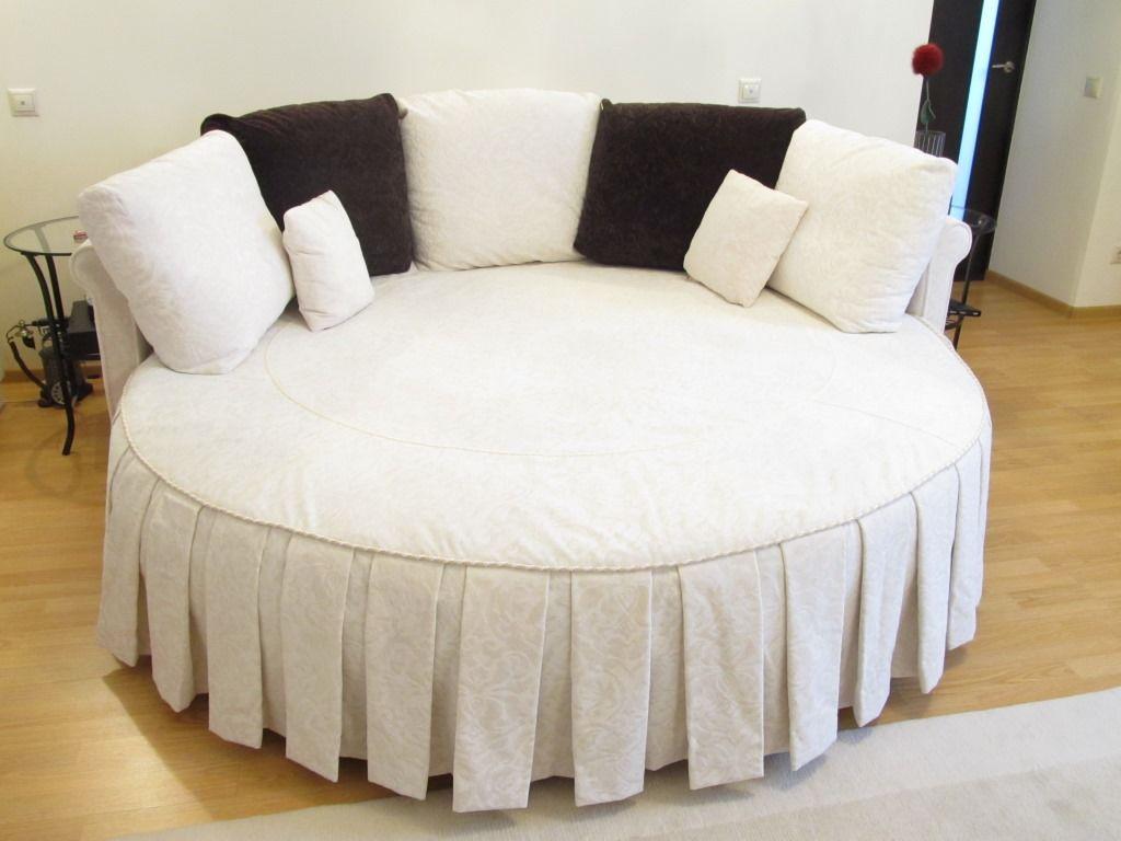 Черно-белый текстиль для круглой кровати