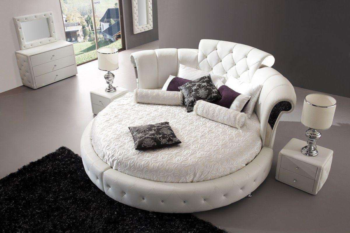 Круглая белая кровать в стиле модерн