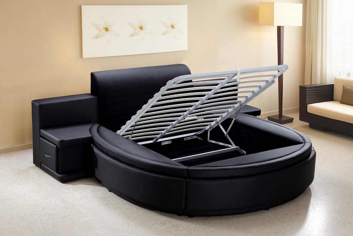 Круглая черная кровать с местом для хранения