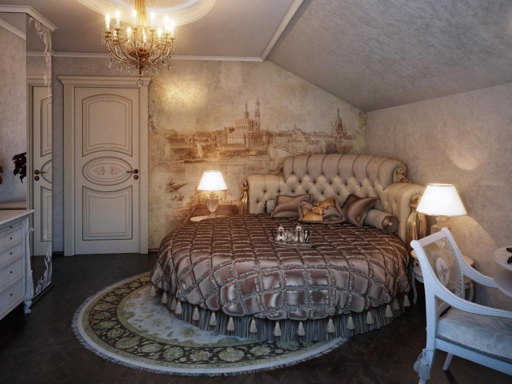 Светло-коричневая круглая кровать в мансардной спальне