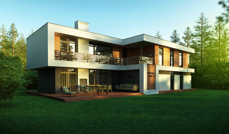 Плоская крыша современного двухэтажного дома