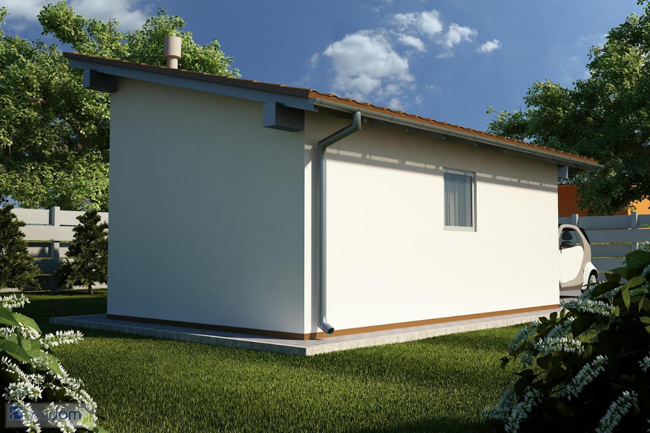 Одноэтажный дом с односкатной крышей