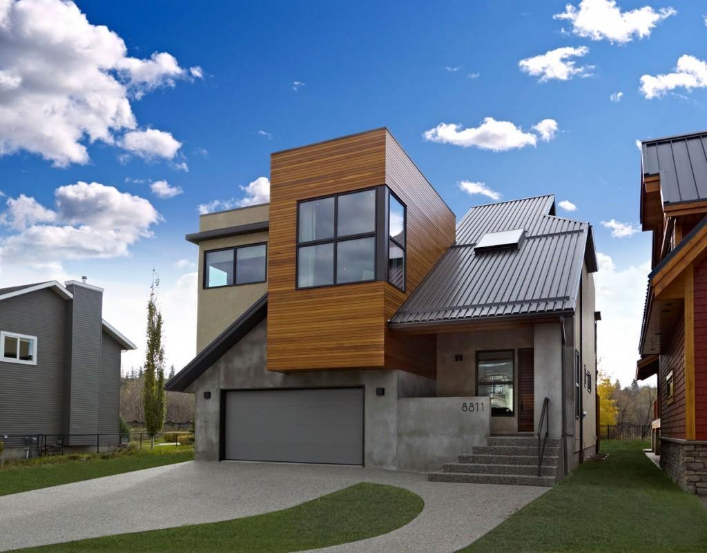 Современный дом с односкатной и плоской крышей