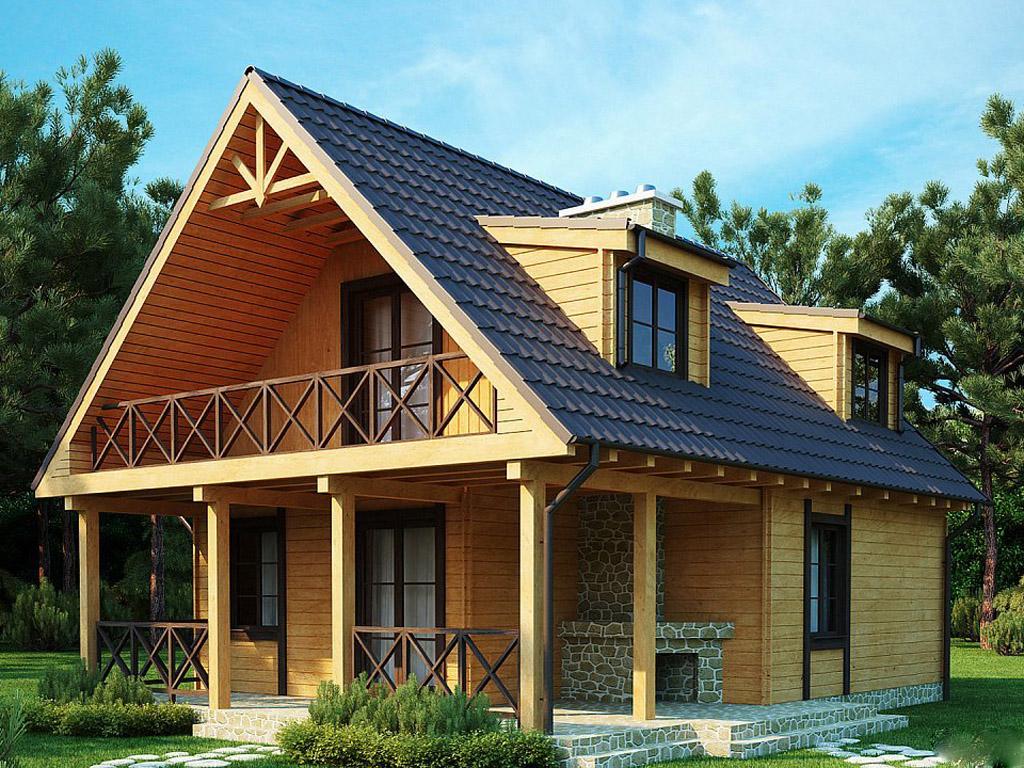 Мансардная крыша у дома из бруса