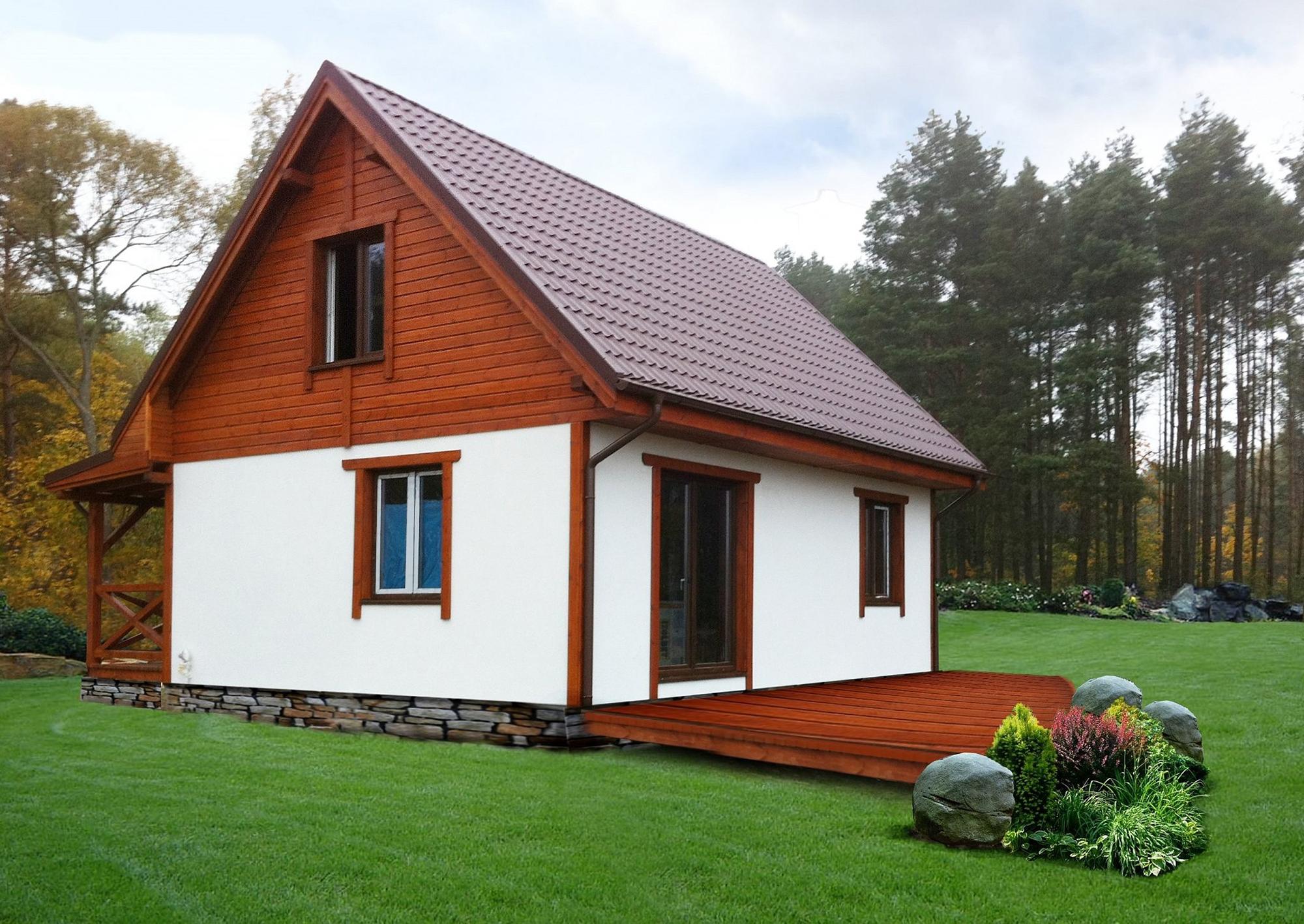 Маленький домик с двухскатной крышей