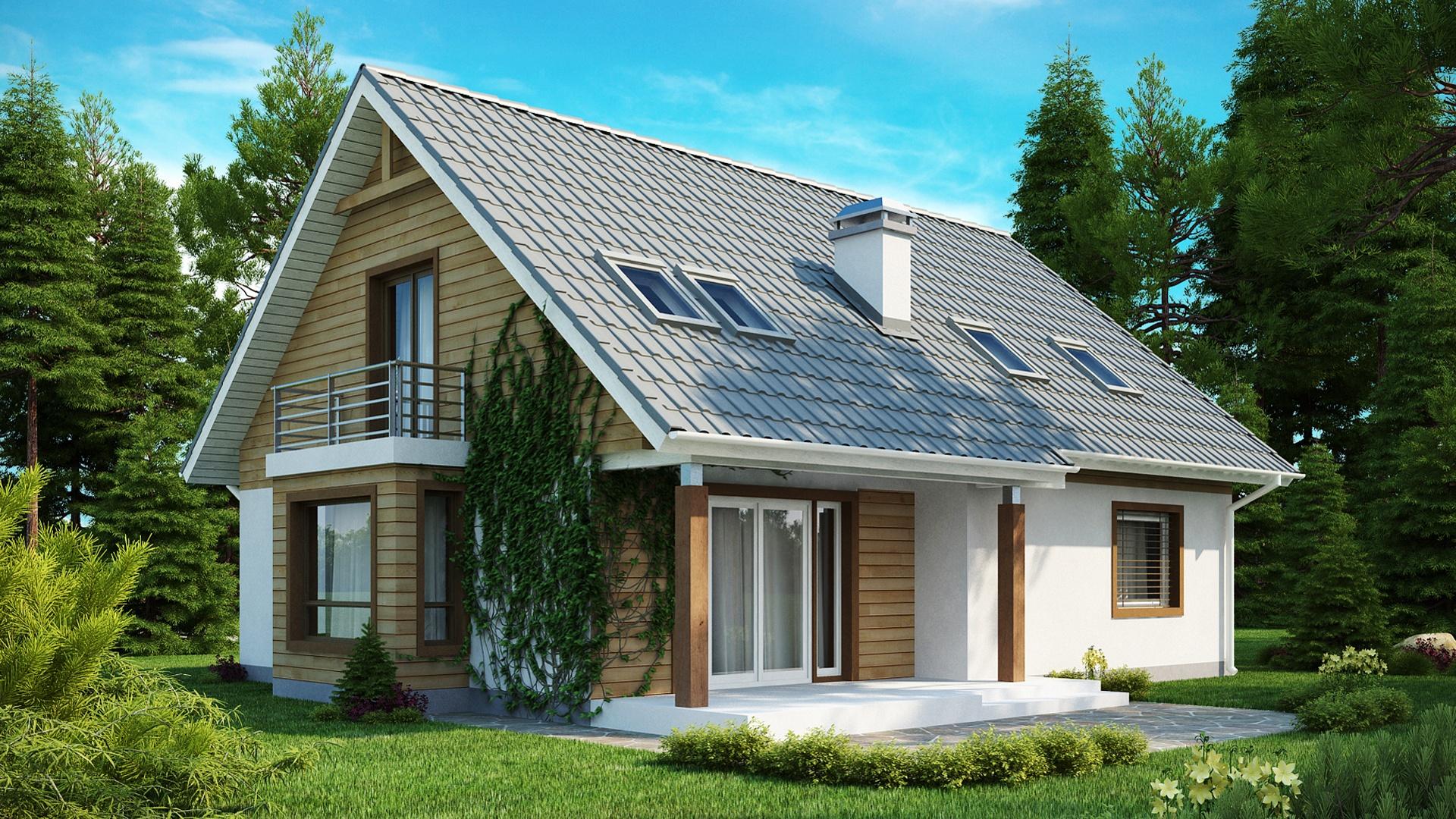 Мансардная крыша с маленьким балконом