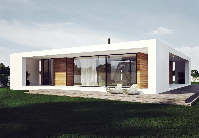 Плоская крыша белого одноэтажного дома