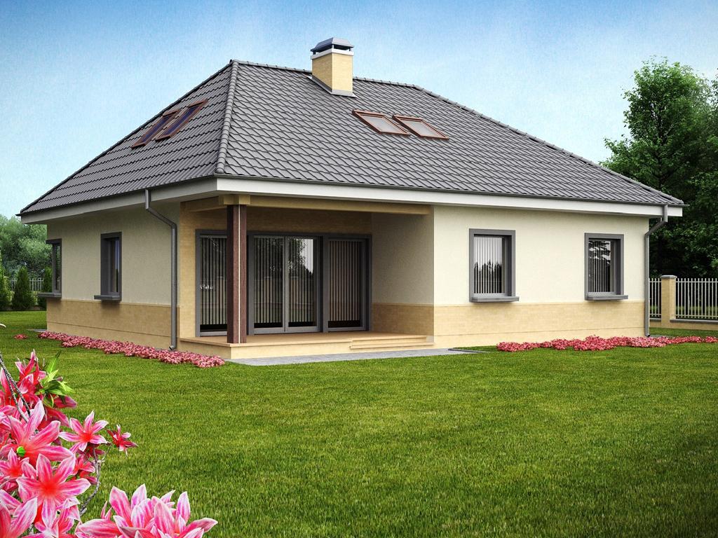 Красивый домик с вальмовой крышей