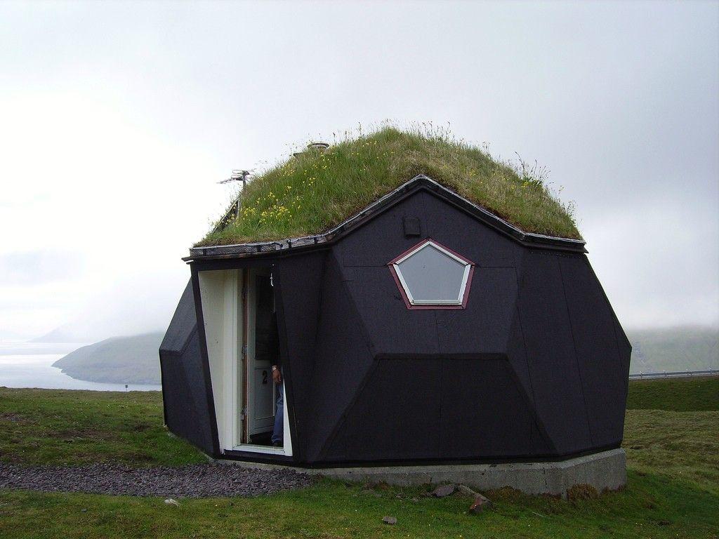 Маленький домик с купольной крышей, покрытой мхом