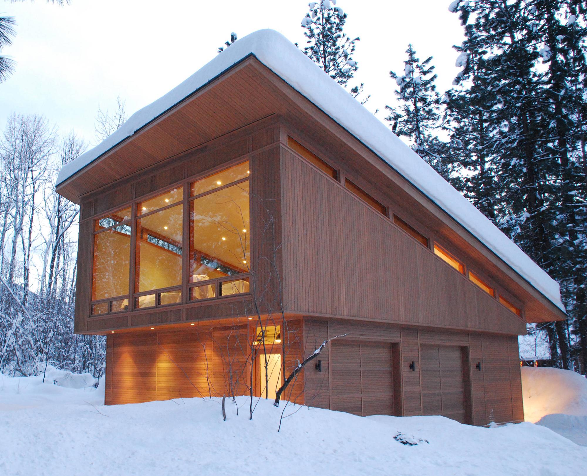 Небольшой дом с односкатной крышей