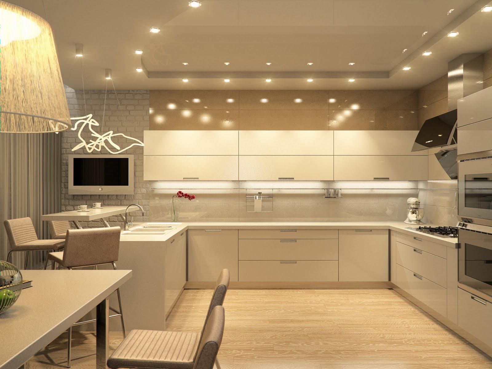 Бежевая кухня в стиле хай-тек