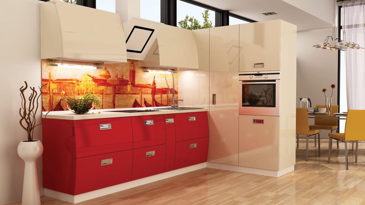 Бежево-красная глянцевая кухня