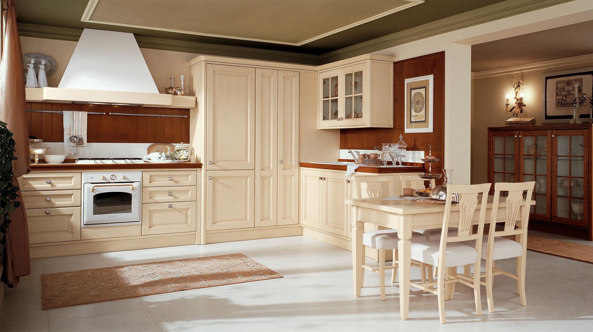 Бежевый, белый и коричневый цвета в интерьере кухни