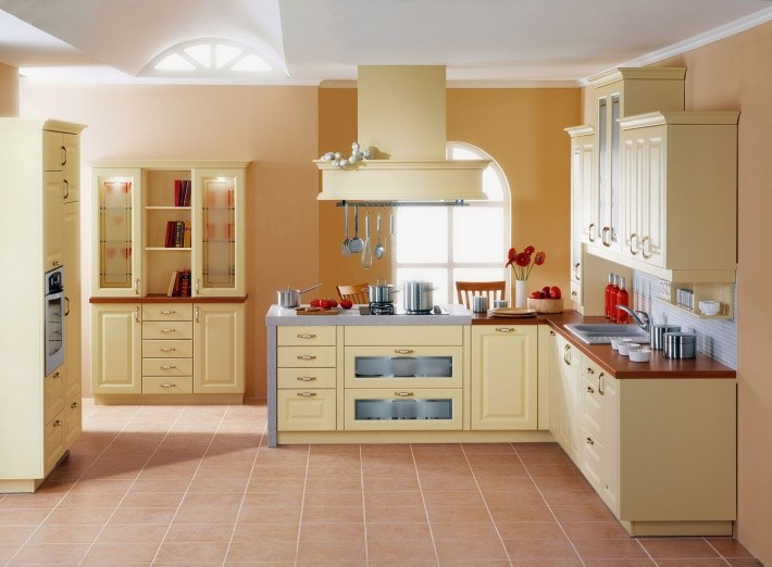 Бежево-коричневый кухонный гарнитур