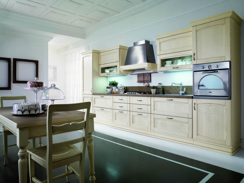 Бежевый, белый и черный цвета в интерьере кухни