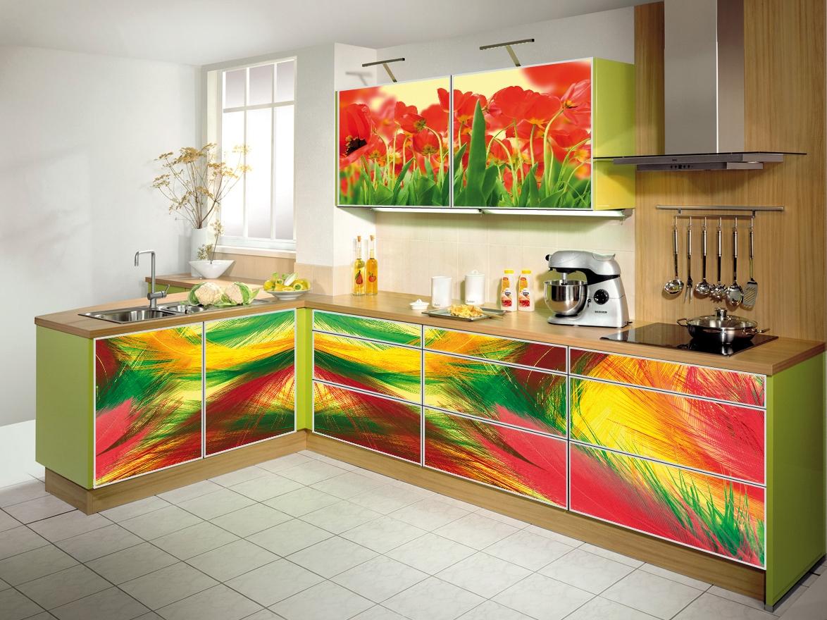 Фотопечать на фасаде кухни