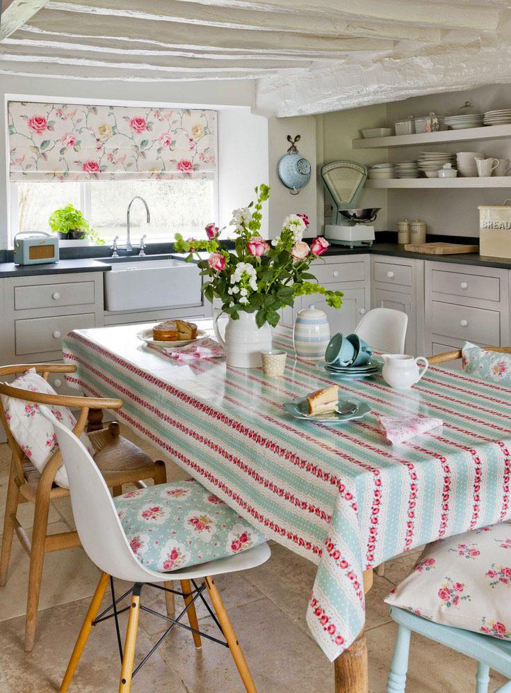 Красно-голубой текстиль на кухне