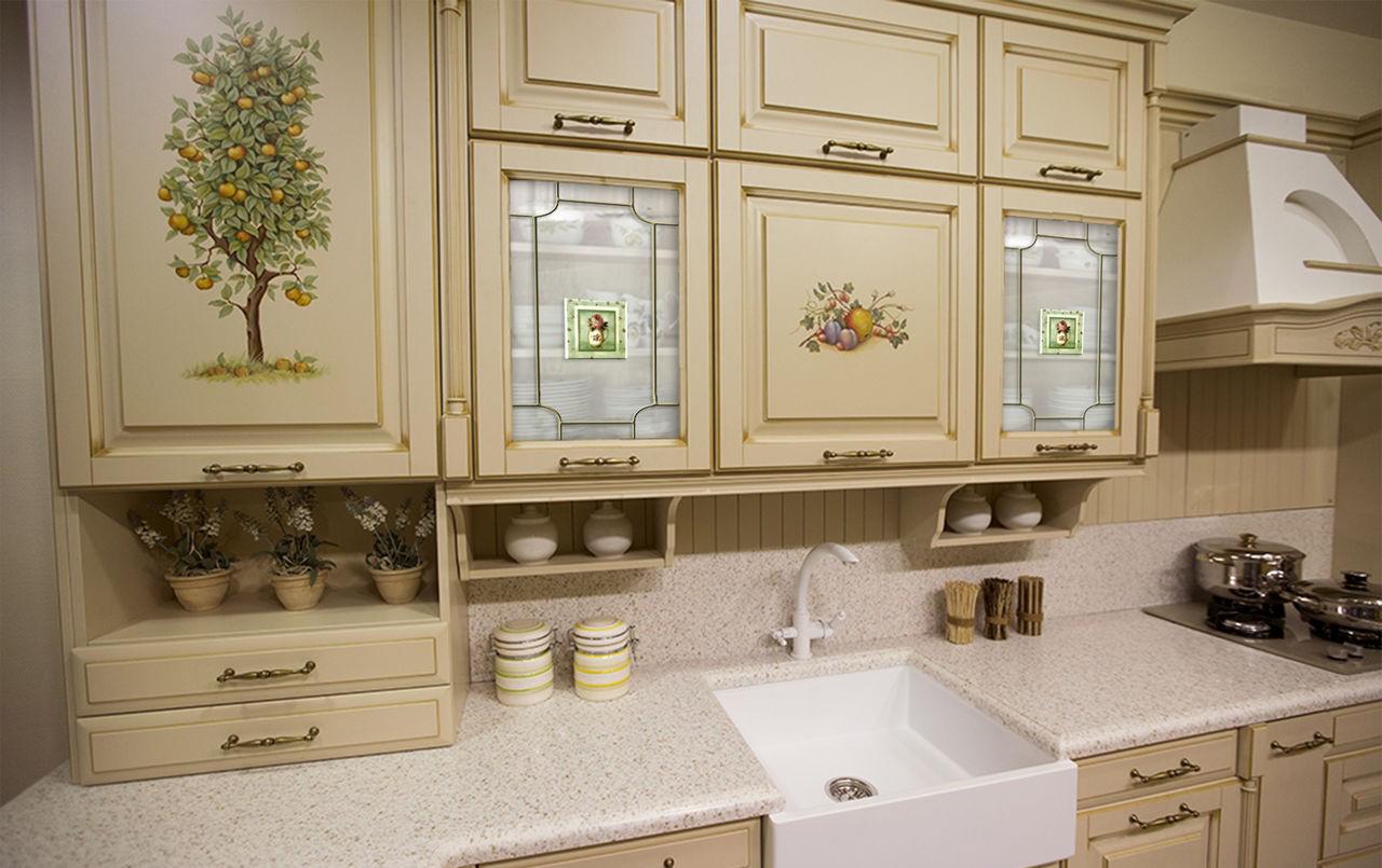 Оформление фасадов кухни в стиле кантри