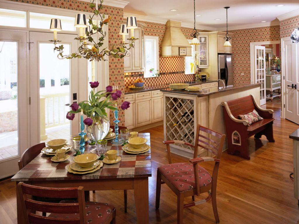 Бежево-коричневая кухня в стиле кантри