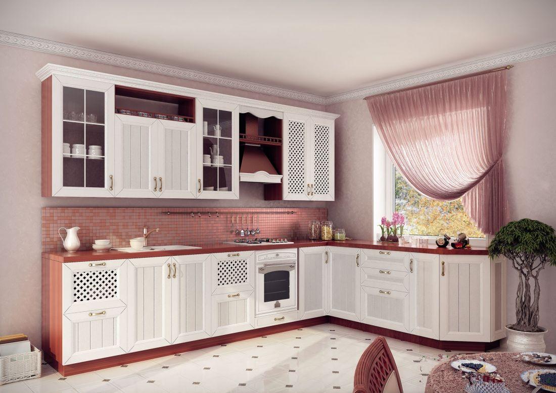 Бело-коричневый угловой кухонный гарнитур в стиле кантри