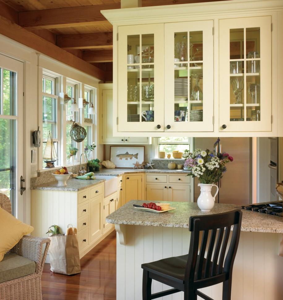 Угловая кухня в стиле кантри