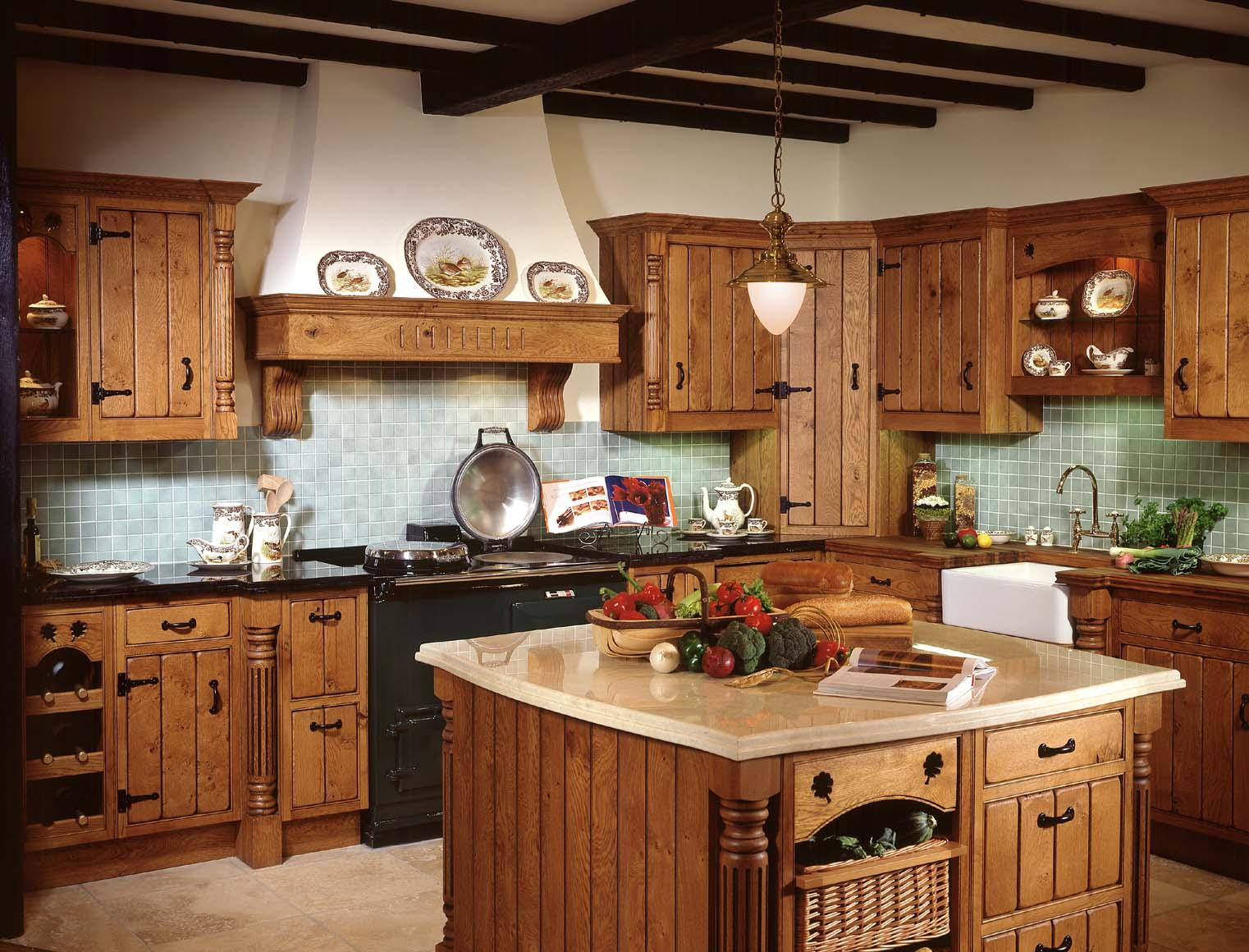 Светло-зеленый фартук на кухне в стиле кантри