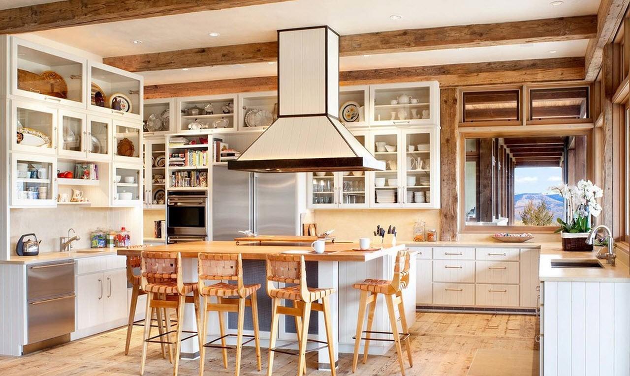Кухня в стиле кантри с большим островом
