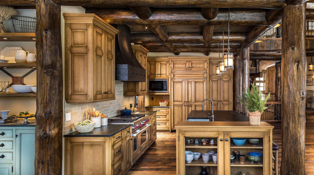 Различные оттенки коричневого на кухне в стиле кантри