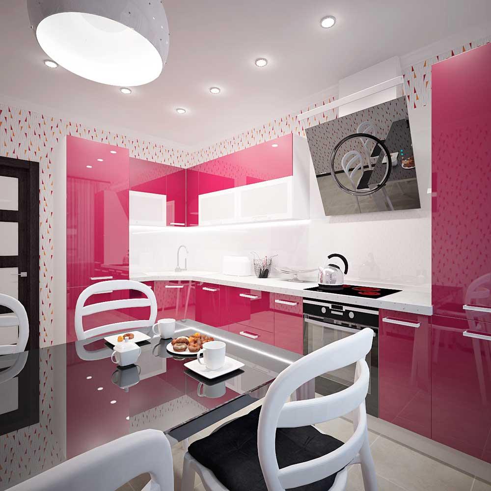 Розовый, черный и белый цвета на кухне