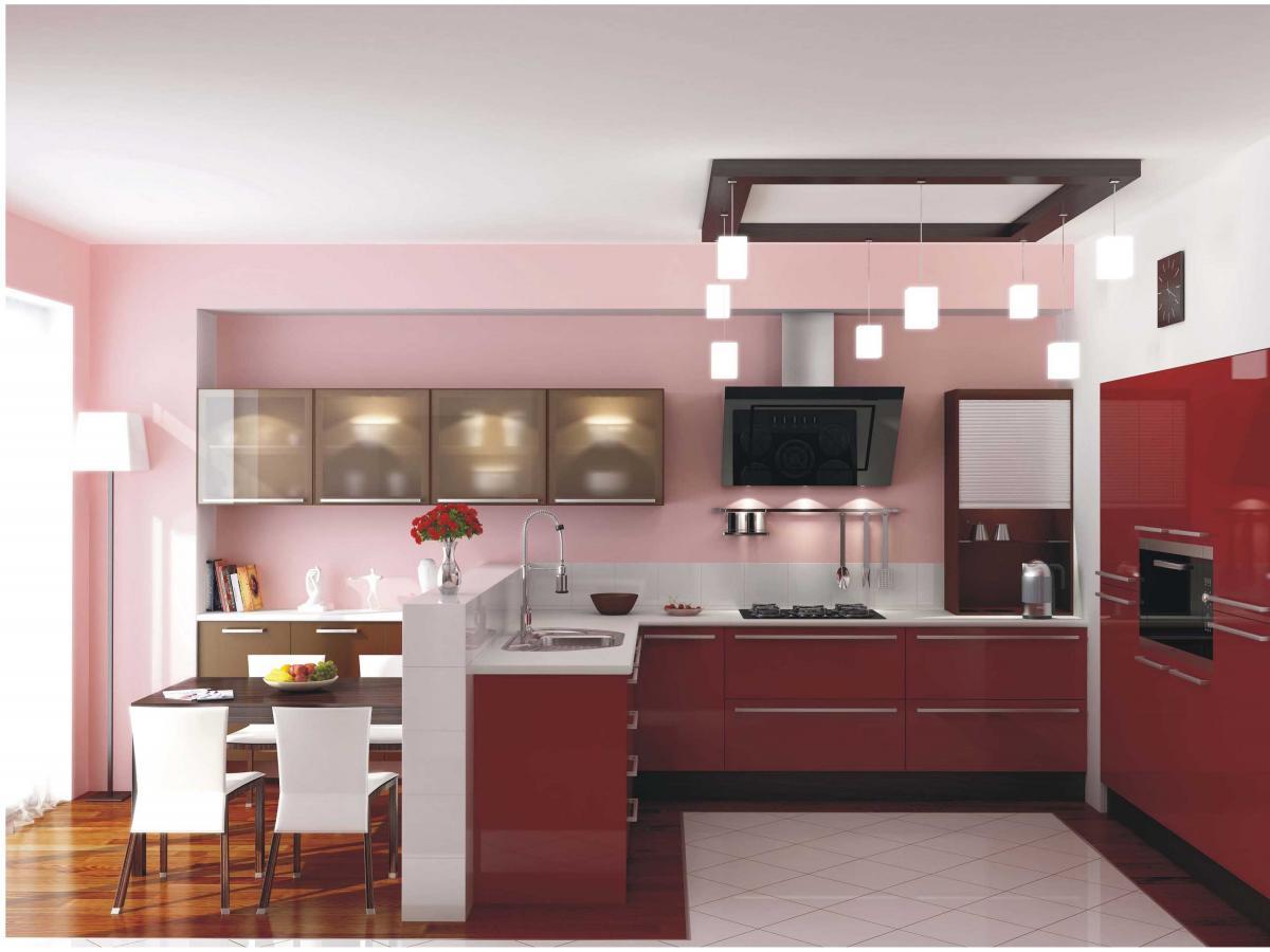 Розовые и белые стены на кухне