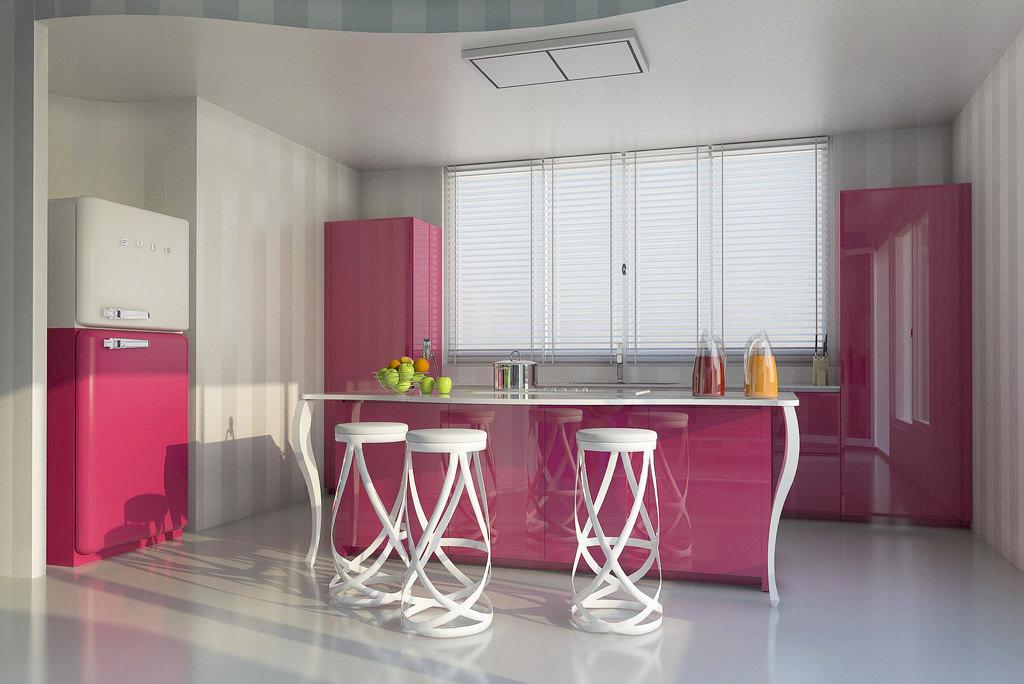 Бело-розовая глянцевая кухня