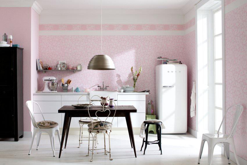 Розовый, белый и черный цвета в интерьере кухни