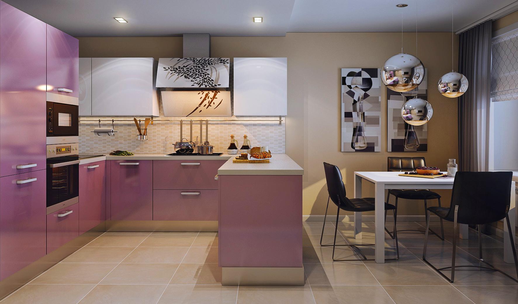 Бежево-розовая кухня с полуостровом