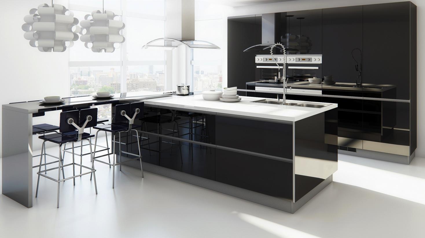 Черно-белая кухня с глянцевым фасадом