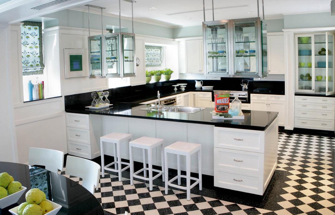 Черно-белая кухня в стиле фьюжн