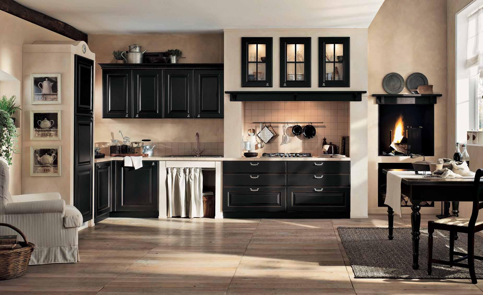 Бежевый пол и стены в черно-белой кухне