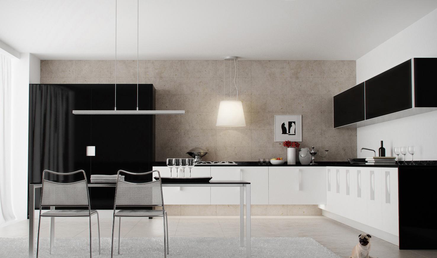 Черно-белая кухня с обеденным столом