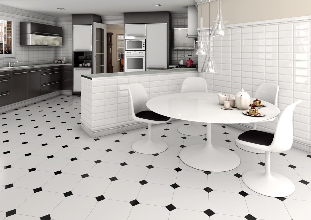 Черно-белая кухня-столовая