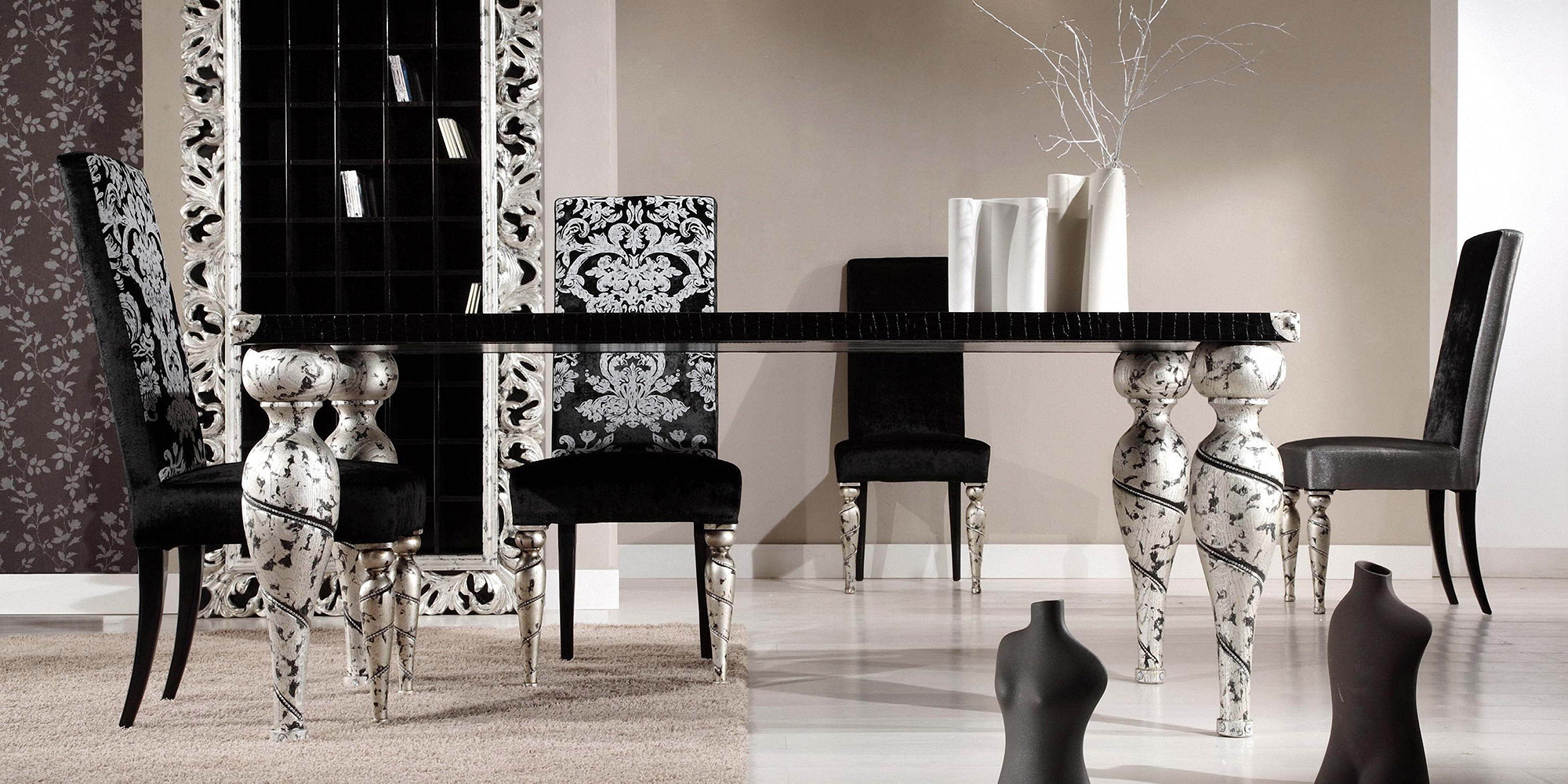 Черно-белая столовая в стиле модерн