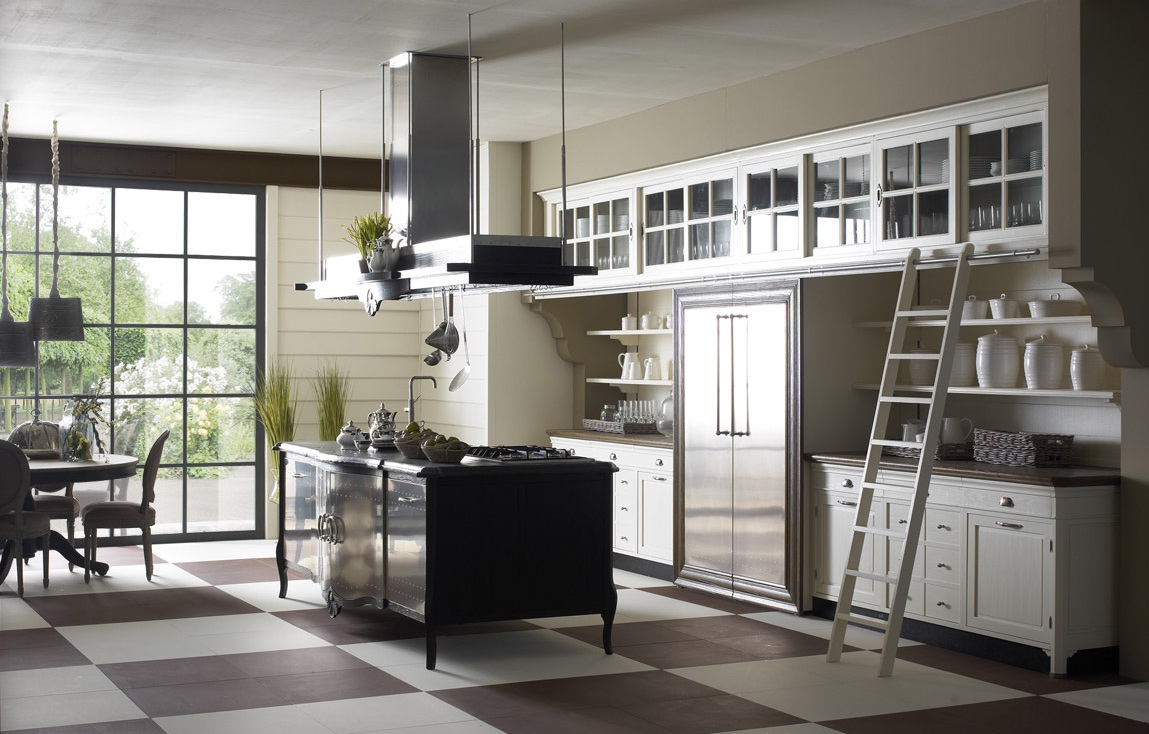 Сочетание белого, черного, бежевого и коричневого цветов на кухне