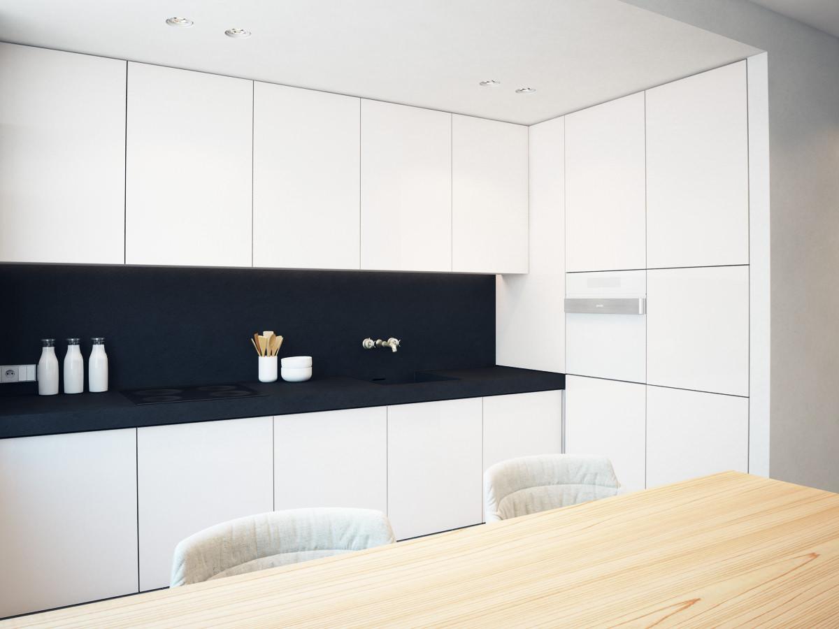 Белая кухня с черной столешницей и фартуком